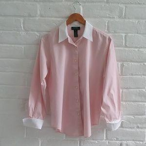 Ralph Lauren Long Sleeve Button Pink Shirt Size 14